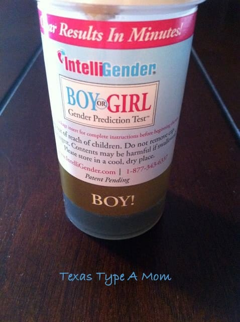 Gender reveal test at home with the Intelligender Test results showing boy