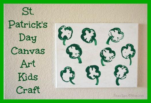 St Patrick Day Shamrock Canvas Kids Craft