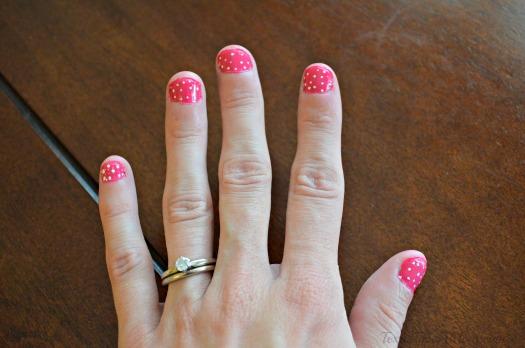 Closeup Inside Pink White Polka Dot Nails