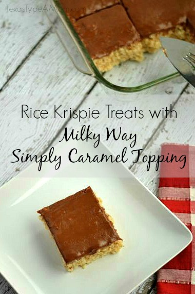 Rice Krispie Treats with Milky Way Simply Caramel Topping Recipe #shop #EatMoreBites