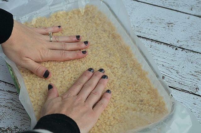 Step 6: Smashing Down Rice Krispie Treats #shop #EatMoreBites
