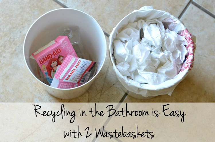 Bathroom Recycling is Easy with 2 Wastebaskets