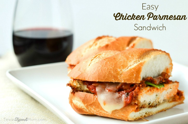 Easy Chicken Parmesan Sandwich Labeled