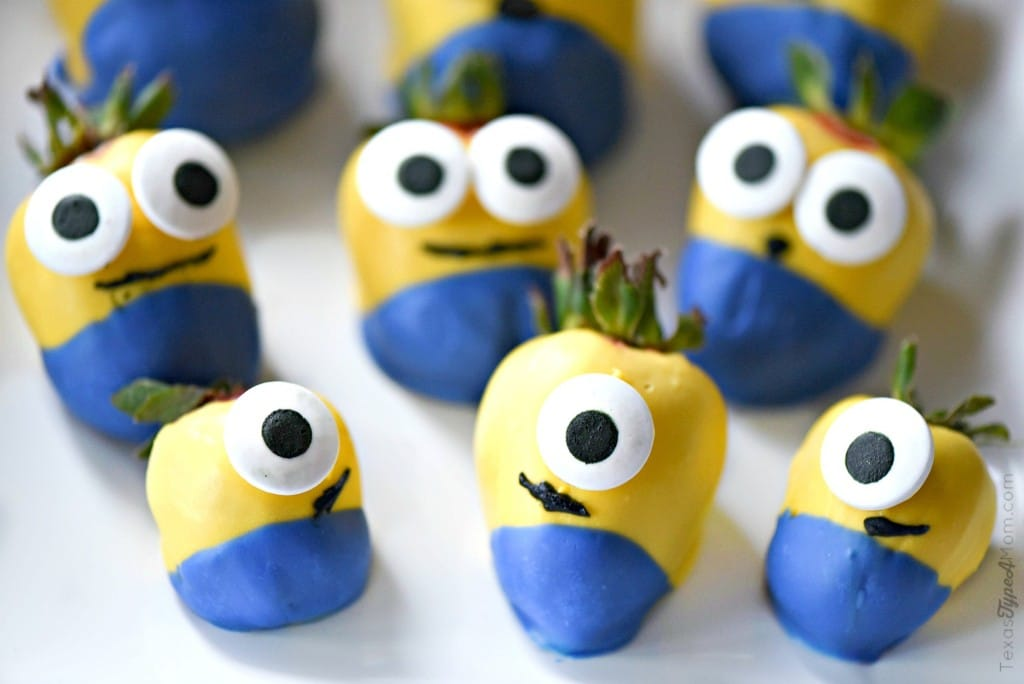 Minions Birthday Party Breakfast with Candy Covered Minions Strawberries