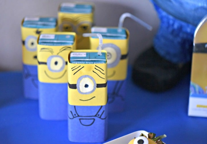 Minions Birthday Party Breakfast with Minions Juice Boxes