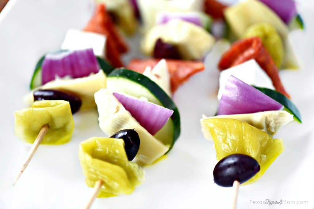 Easy Antipasto Recipe Greek Salad Skewers 1