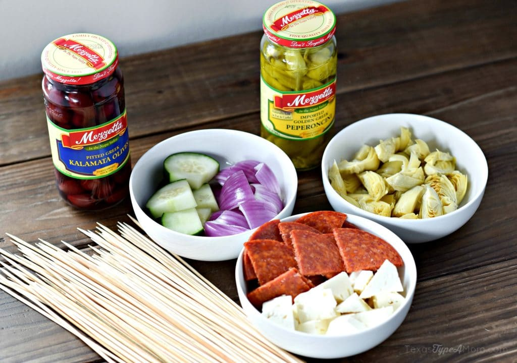 Easy Antipasto Recipe: Greek Salad Skewers with Balsamic Reduction