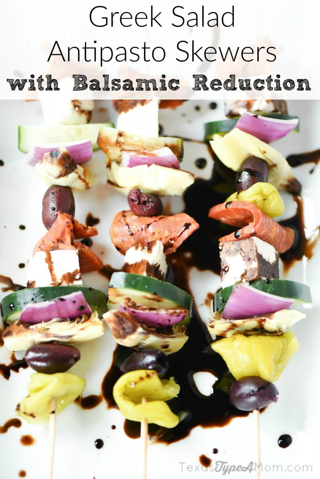 Easy Antipasto Recipe: Greek Salad Skewers with Balsamic Reduction