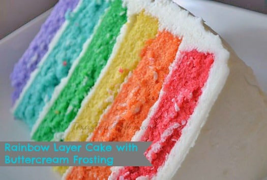 This homemade dessert recipe for a 6 Layer Rainbow Cake Recipe is easier than it looks thanks to boxed cake mix. Nonetheless, the beautiful and vibrant colored layers really make a statement especially when it's topped off with a delicious homemade buttercream frosting!