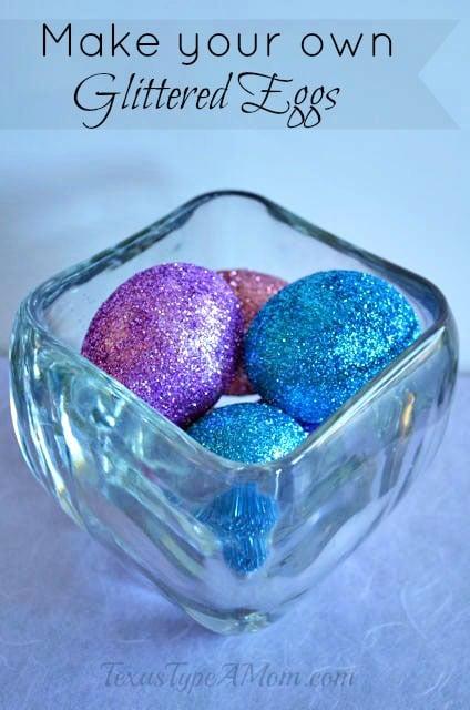 glitter easter eggs in vase