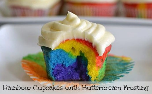 Rainbow Cupcakes with Easy Buttercream Frosting