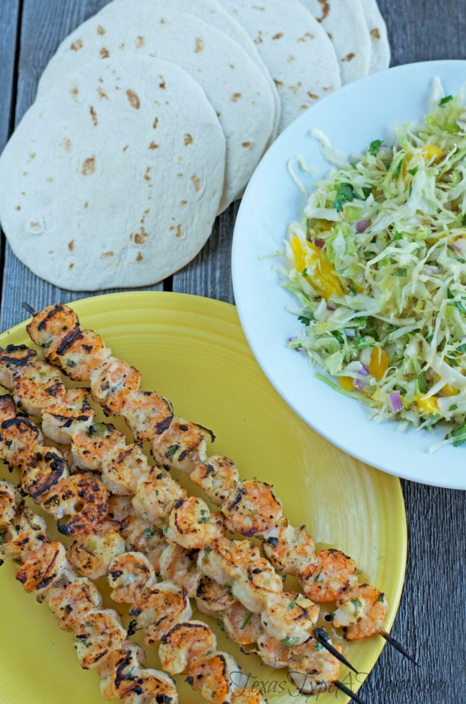 This looks like such a light and refreshing recipe for the warmer weather. Grilled Shrimp Tacos with Jalapeno Slaw.