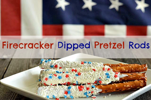 Red, white, and blue recipe! Get festive this 4th of July with Patriotic Firecracker Dipped Pretzel Rods. This easy dessert has the perfect balance of salty and sweet.