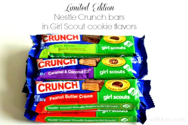 Limited Edition Nestle Crunch bars in Girl Scout cookie flavors
