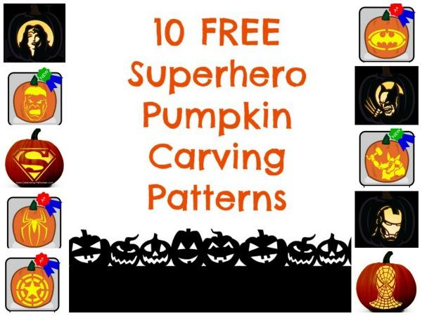 10 Free Superhero Pumpkin Carving Patterns Collage