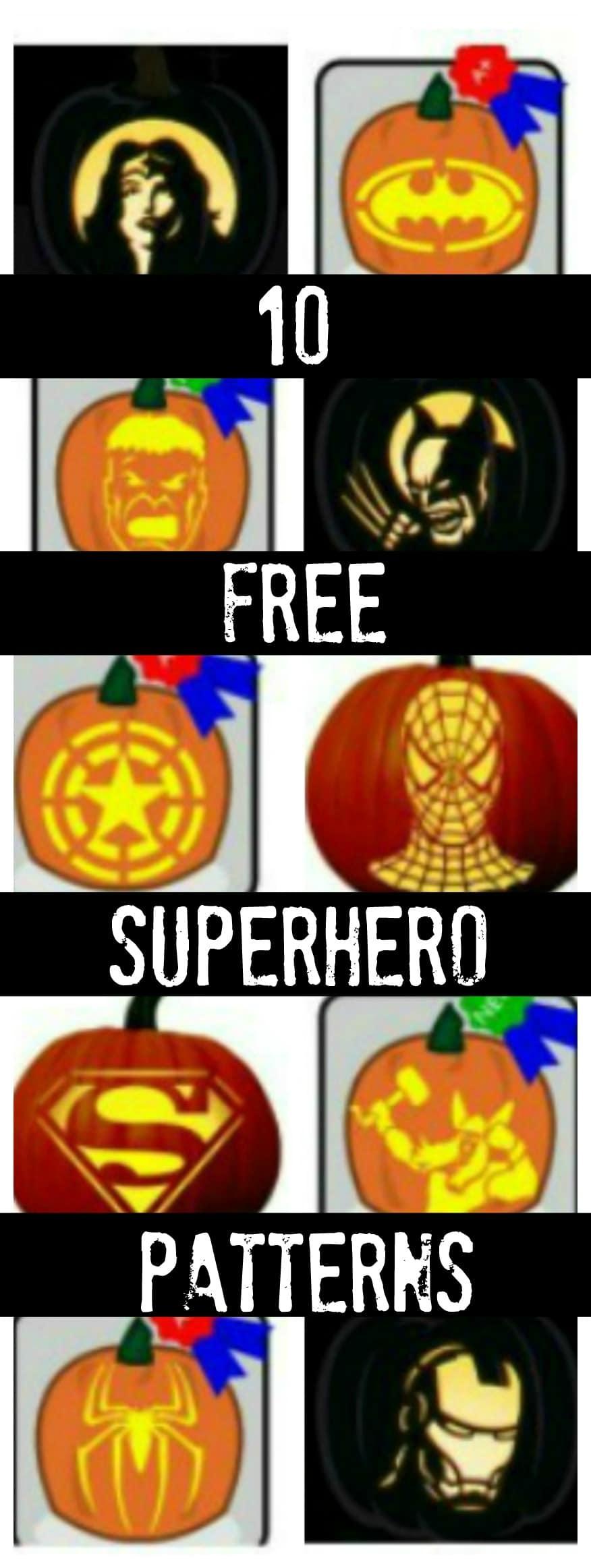 10 Free Superhero Pumpkin Carving Patterns