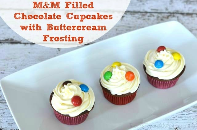 M&M Filled Chocolate Cupcakes with Chocolate Buttercream Frosting #shop #BakingIdeas #cbias