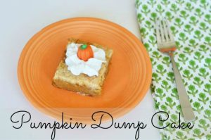 This Pumpkin Dump Cake recipe is a seriously easy dessert recipe. You get all the flavor of a traditional pumpkin pie without all the time mixing and baking. It doesn't get any easier than this pumpkin dump cake with yellow cake mix for your Thanksgiving dessert.