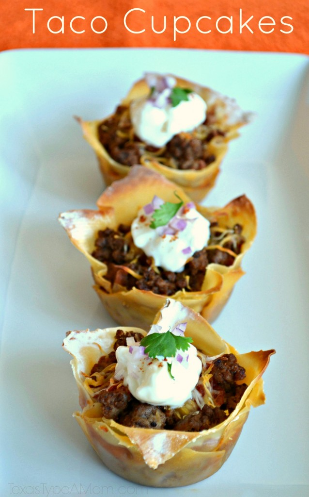 This savory, bite-sized appetizer Taco Cupcakes recipe makes the perfect appetizer for football season or a main dish for any occasion. All the flavors you love from tacos made wrapped in wonton wrappers for an easy to eat appetizer. #tacos #tacocupcakes #tacorecipes #beefrecipes #groundbeefrecipes #kidfriendlyrecipes #appetizers #appetizerrecipes #texmex #cincodemayo #wontonwrappers