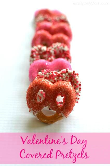 Valentine's Day Covered Pretzels recipe. Fun and delicious kid-friendly recipe that adults can enjoy too!