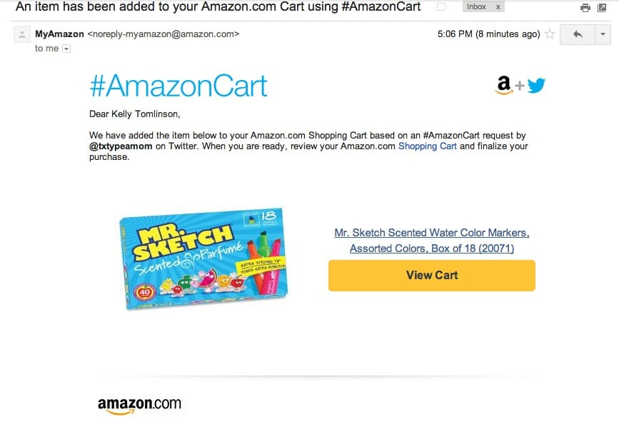 #AmazonCart Email Confirmation #shop #cbias