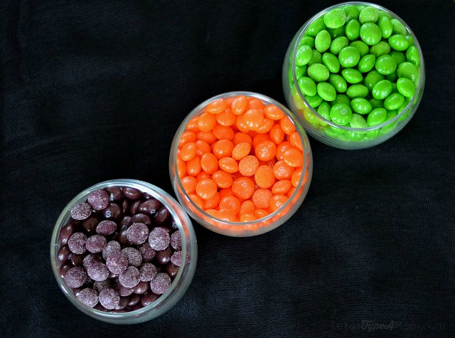 Halloween Candy Jar Skittle Sorting