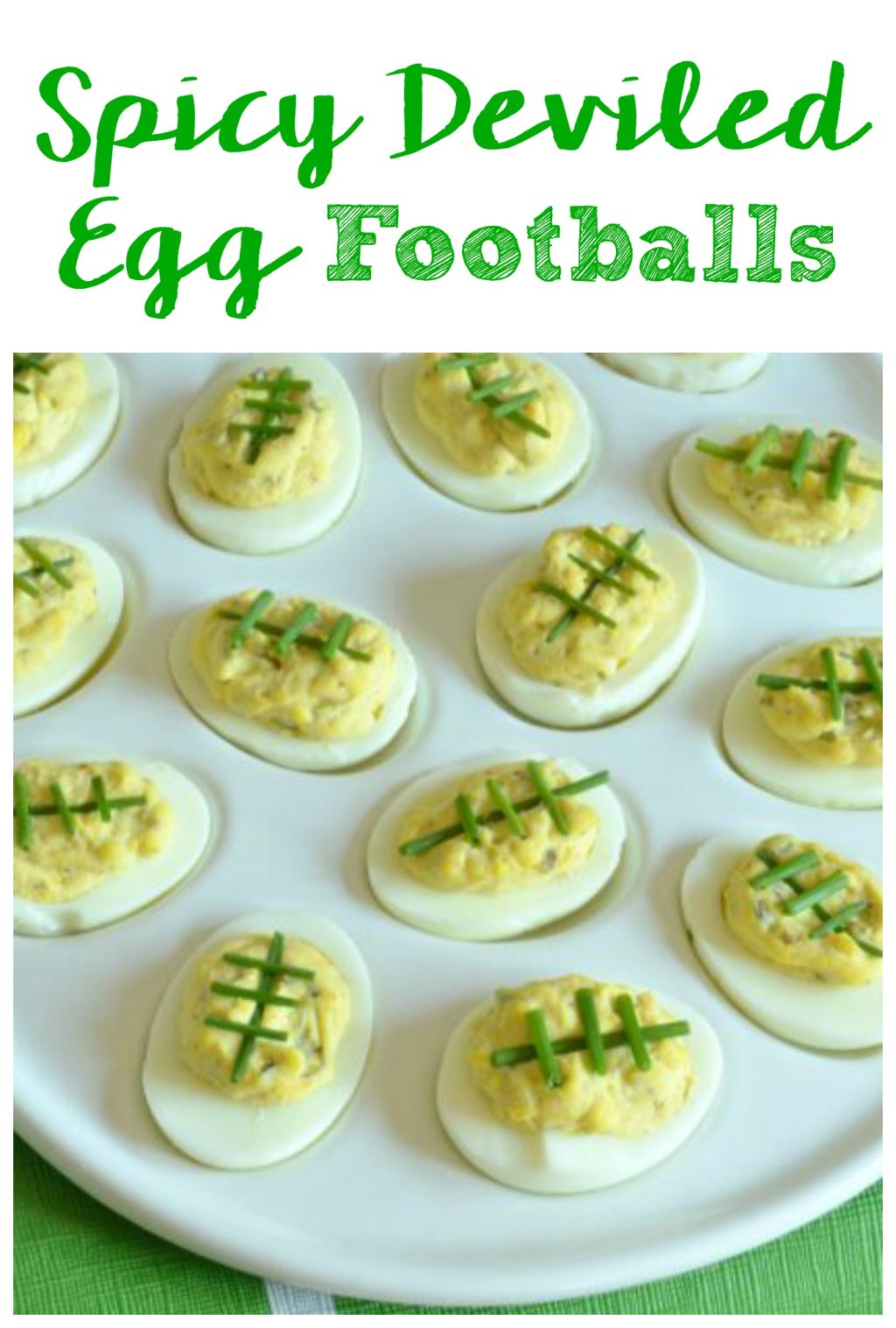 These Spicy Deviled Egg Footballs are the perfect appetizer recipe for your Game Day party! They can be customized to be as spicy (or mild) as you want!