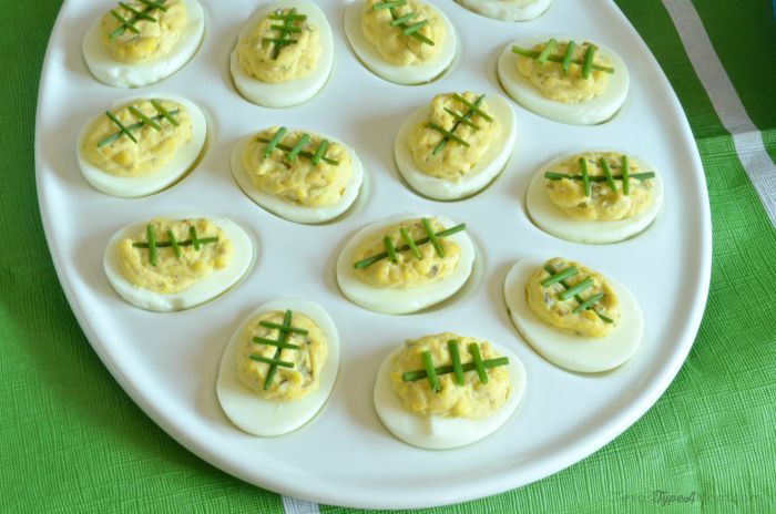 Spicy Deviled Egg Footballs for Game Day