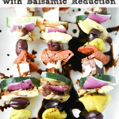Easy Antipasto Recipe: Greek Salad Skewers + Balsamic Vinegar Reduction