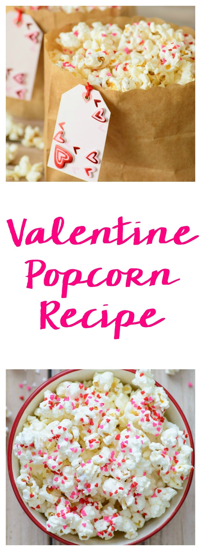 This Valentine's Day snack idea is the perfect combination of crunchy and sweet. This Confetti White Chocolate Popcorn recipe is so cute and easy which makes it a no-brainer for any Valentine's Day snacks for school or snacks for kids! #valentinesday #valentinesdayfood #valentinesdayrecipes #valentinesdaysnacks #valentinesdaypopcorn #valentinesdaytreats #valentinesdayideas #snacks #snacksforkids #desserts #snackmix #valentine #snacksforschool
