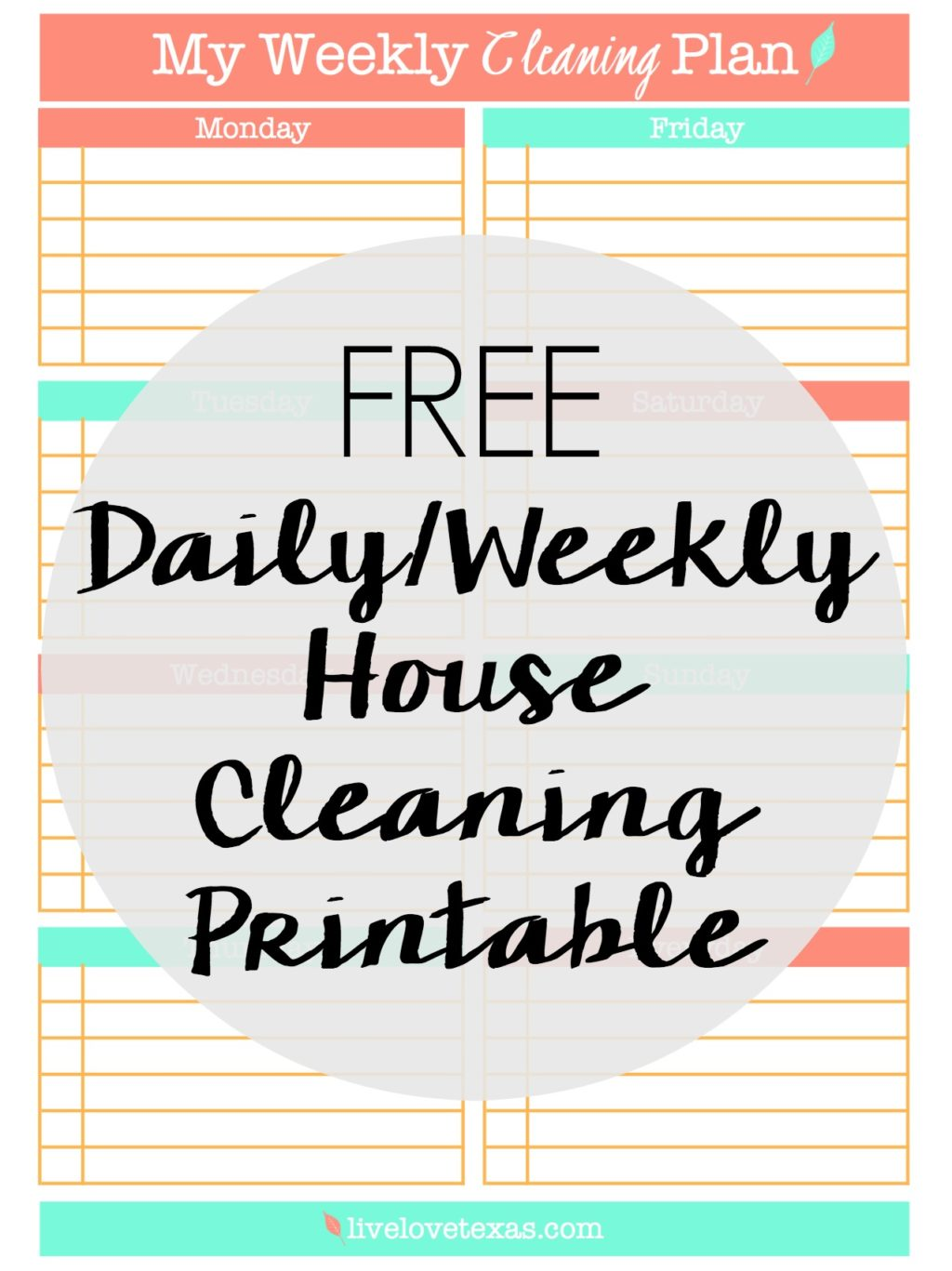 Ready to spring clean your house or just get organized and not spend your entire Saturday cleaning? Then check out this FREE Daily/Weekly House Cleaning Printable.