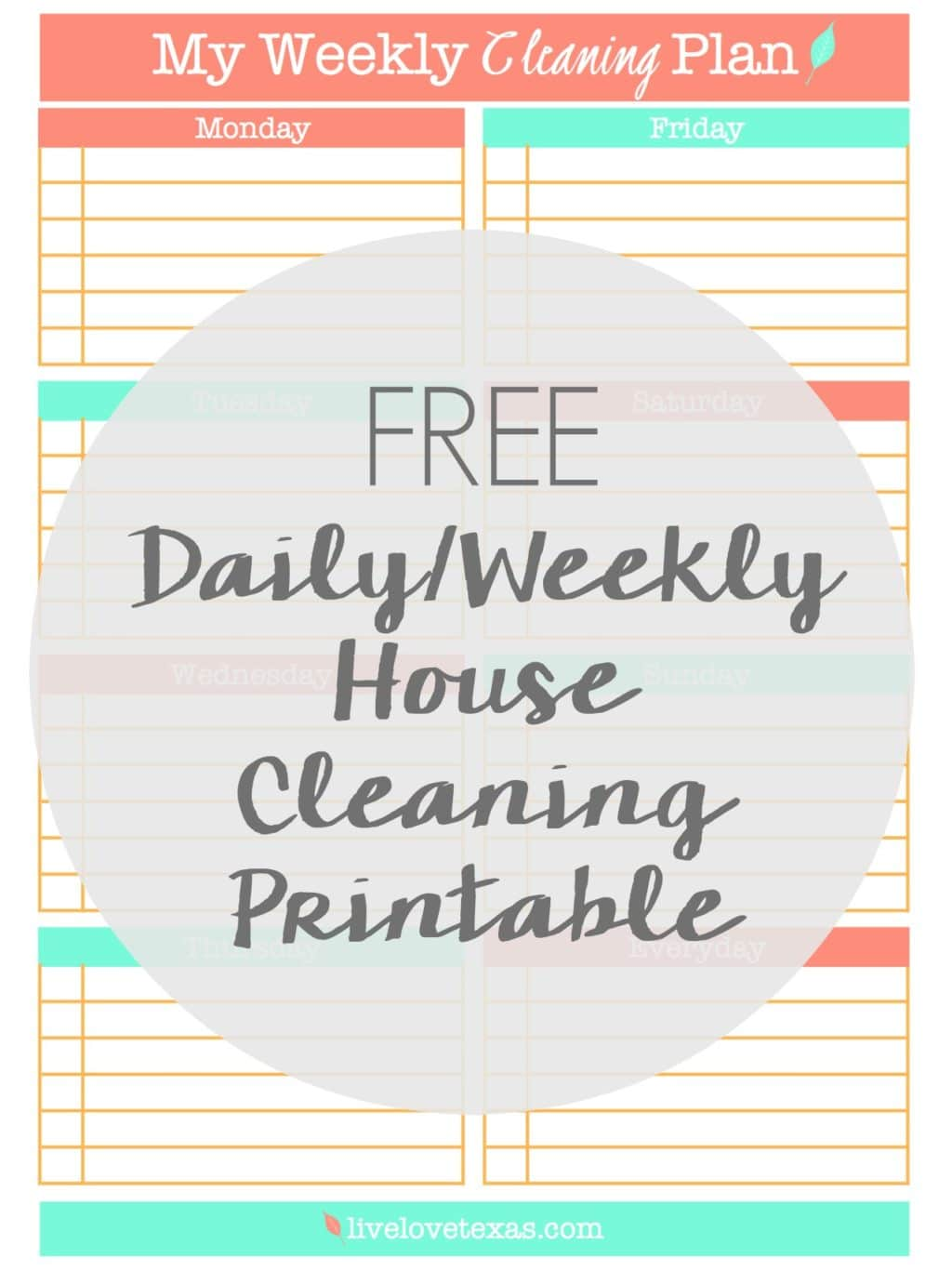 Ready to spring clean your house or just get organized and not spend your entire Saturday cleaning? Then check out this FREE Daily and Weekly Cleaning Schedule Printable