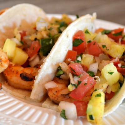 Easy Spicy Shrimp Tacos Recipe + Pineapple Pico De Gallo