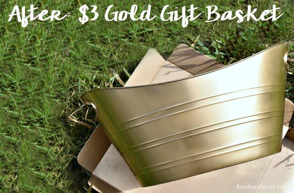DIY Upcycled Beverage Bucket to Gold Gift Basket
