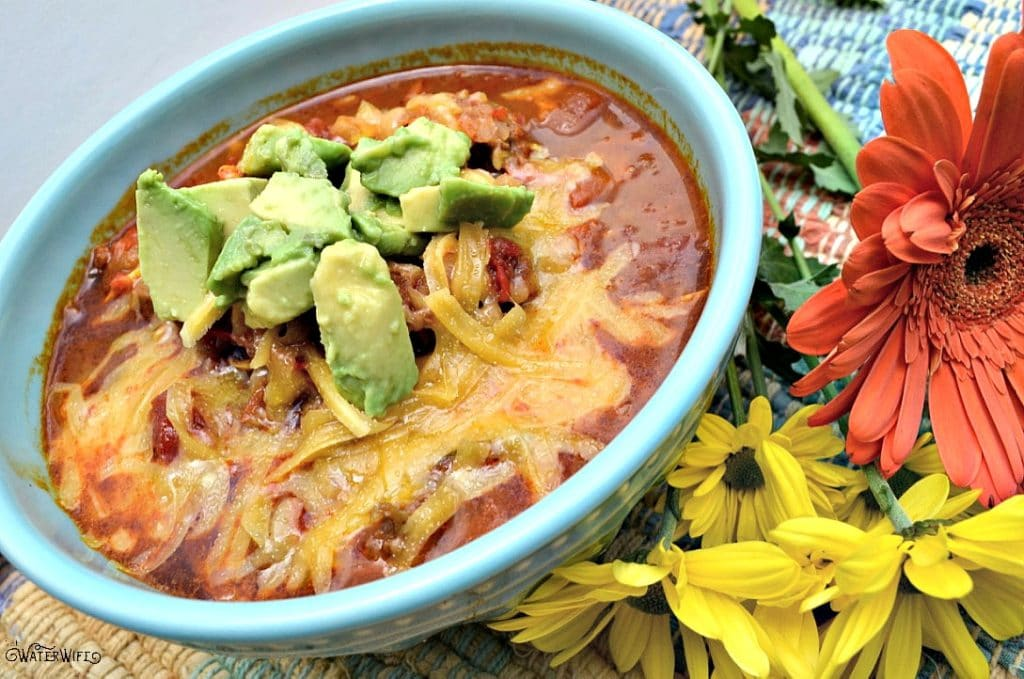 This delicious gluten free taco soup recipe has hidden veggies for the healthiest family meal!