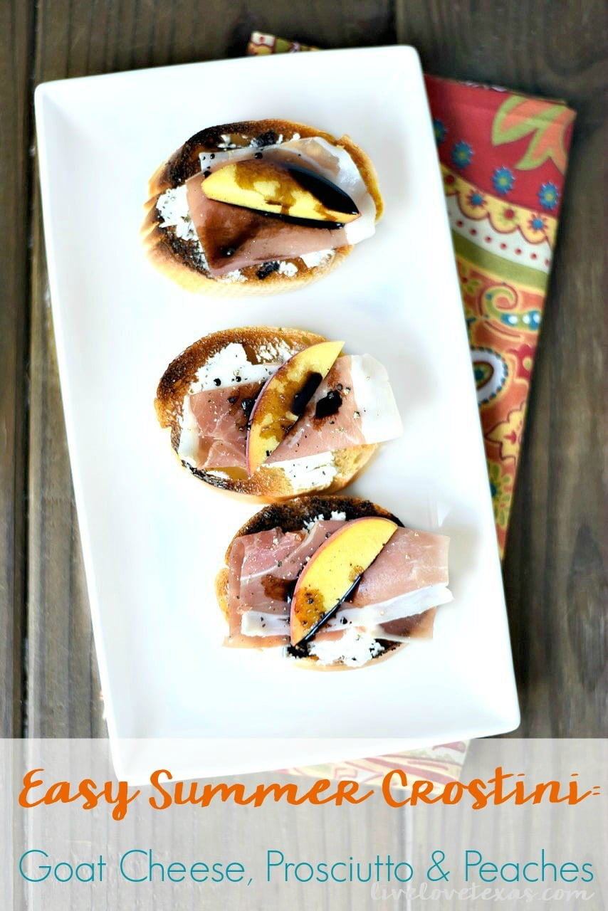 This Easy Crostini recipe with Goat Cheese Prosciutto and Peaches is the perfect appetizer for summer entertaining!