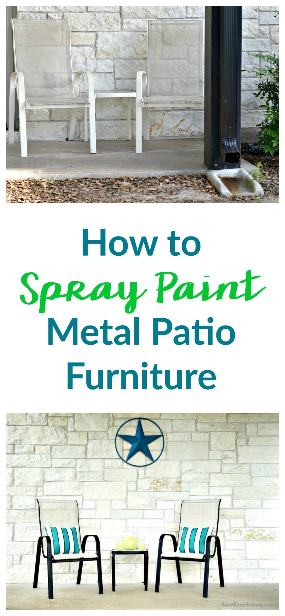 How to Spray Paint Metal Patio Furniture BeforeAfter 2