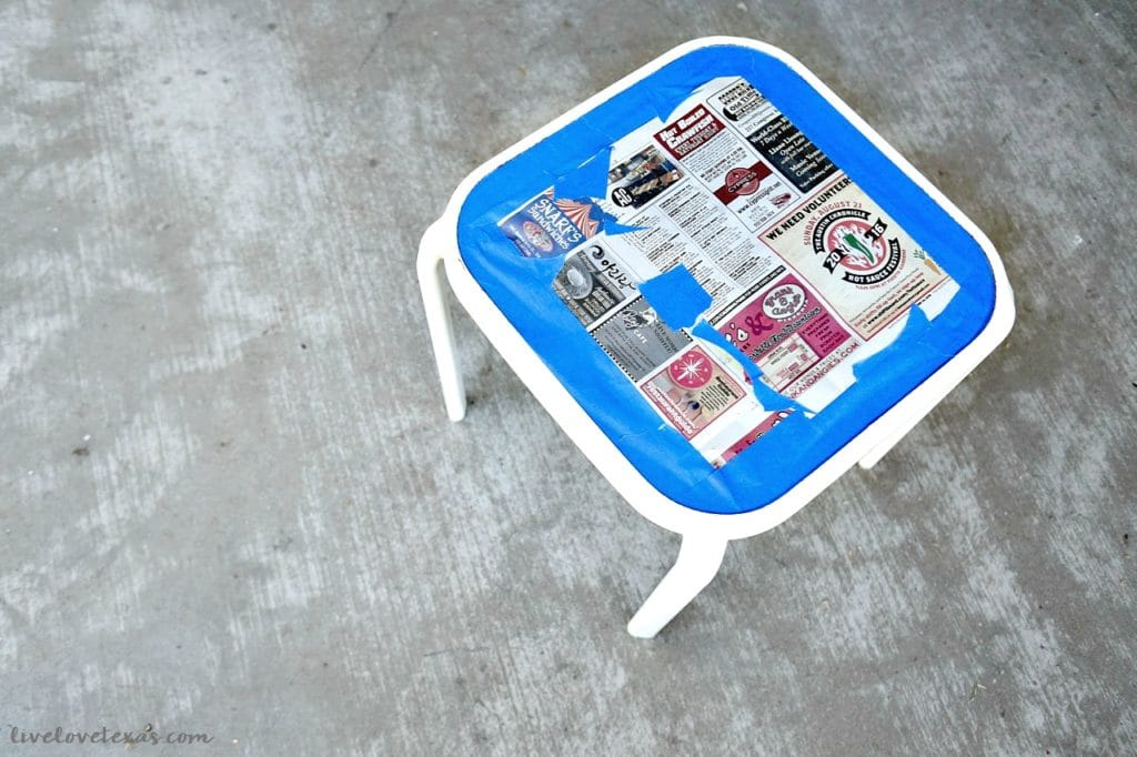 How to Spray Paint Metal Patio Furniture Taping off Glass Table