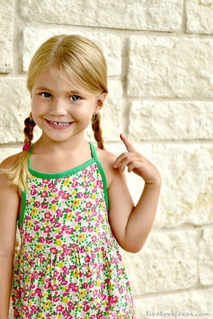 4 year old in Mini Boden Floral Dress