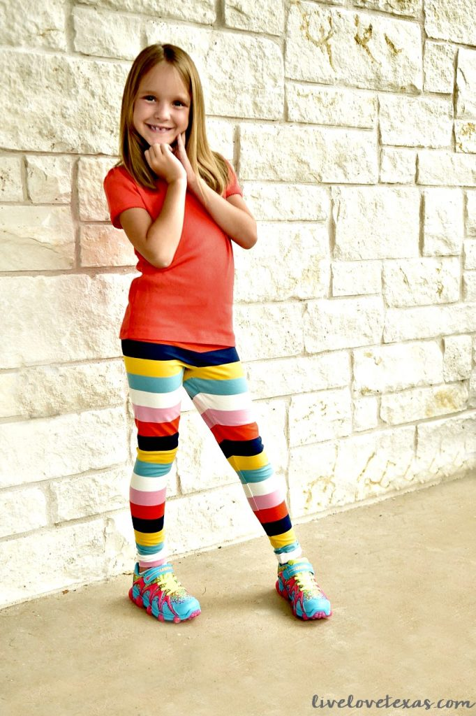 7 year old in Mini Boden Rainbow Prints