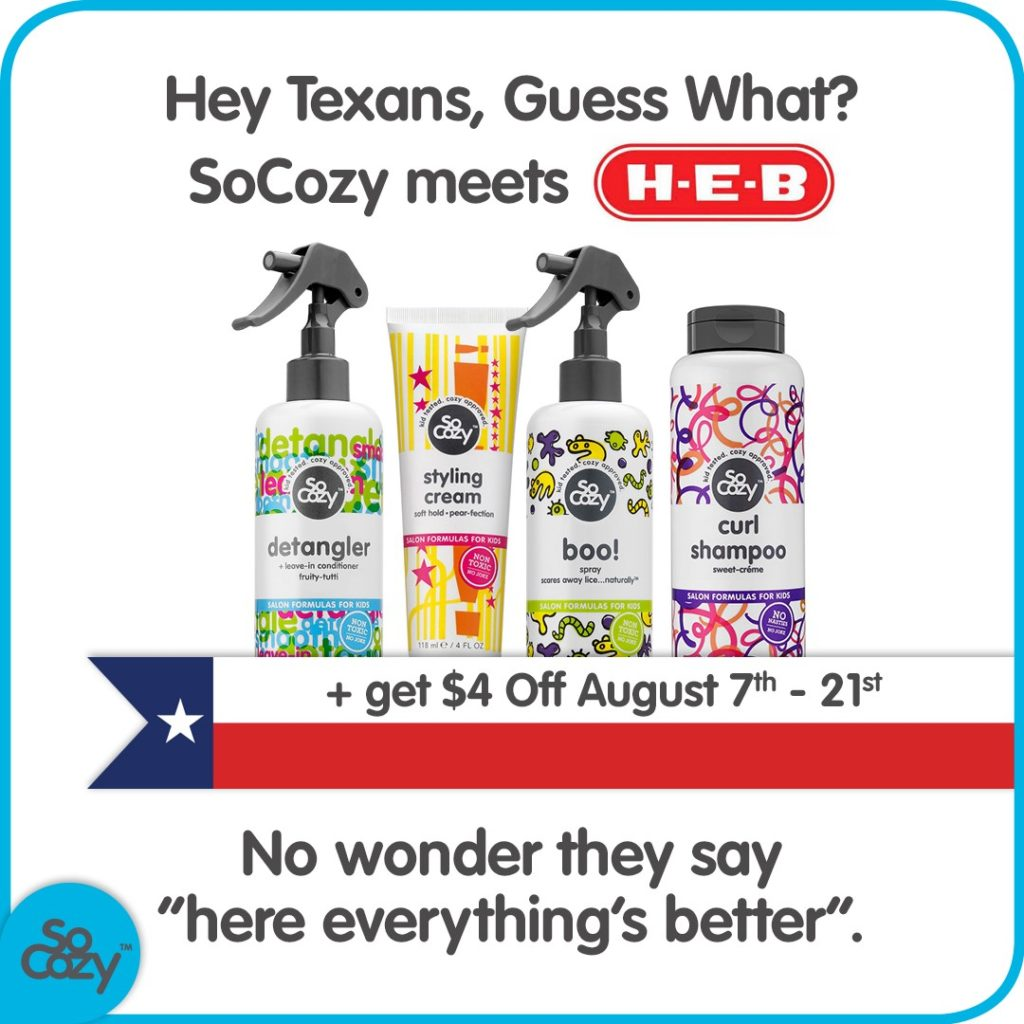 HEB now carry the best, natural kids haircare products, SoCozy!!