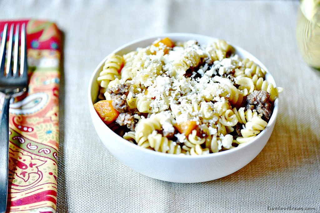 Are you looking for an easy fall pasta? Look no farther than this butternut squash and sausage rotini with sage, onions, and topped with feta! Easy, flavorful, and slightly sophisticated!