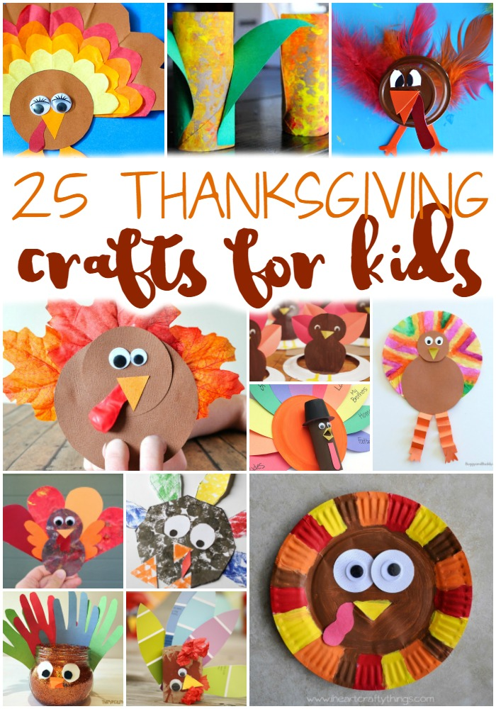 Teach the kids about Thanksgiving and keep them busy while you're cooking dinner with these 25 Easy Thanksgiving Crafts for Kids! #thanksgiving #crafts #toddlers #thanksgivingcrafts #craftsforkids #turkey #fallcrafts #preschool #elementary