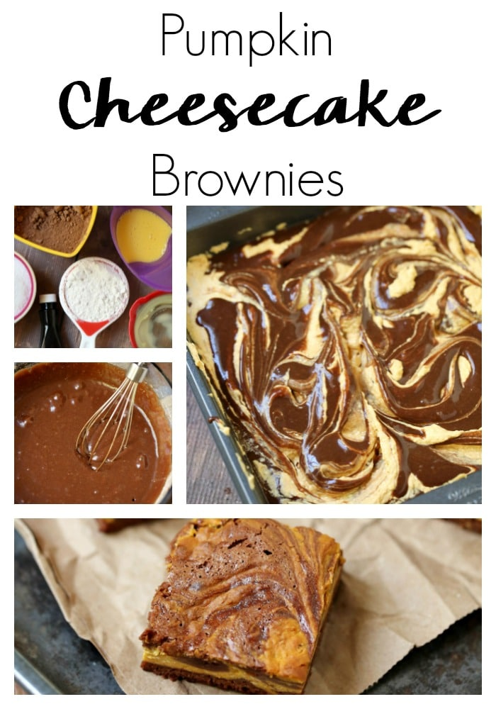 Three of your favorite dessert recipes collide in an explosion of harmonious flavors in this pumpkin cheesecake brownies recipe!