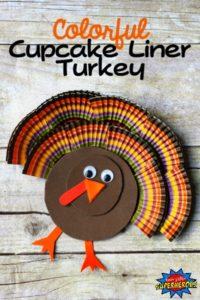 Cupcake liner turkey Thanksgiving Craft