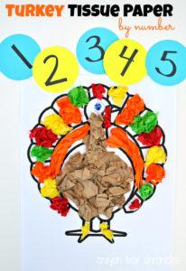 Turkey Tissue By Number Thanksgiving Craft