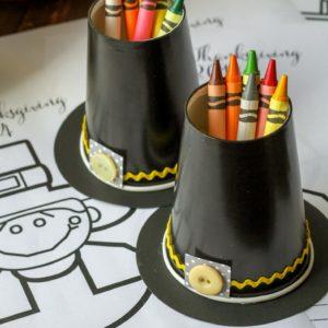 Pilgrim Hat Crayon Cups Thanksgiving Craft