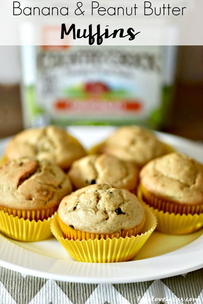 Make school mornings easier by prepping this Banana Peanut Butter Muffins Recipe for a kid friendly breakfast. These are super easy to make and are perfect on the go breakfast recipe. Plus, these muffins are freezer friendly! #bananamuffins #bananachocolate #muffinsrecipes #breakfastrecipes #kidfriendlyrecipes #freezermuffins
