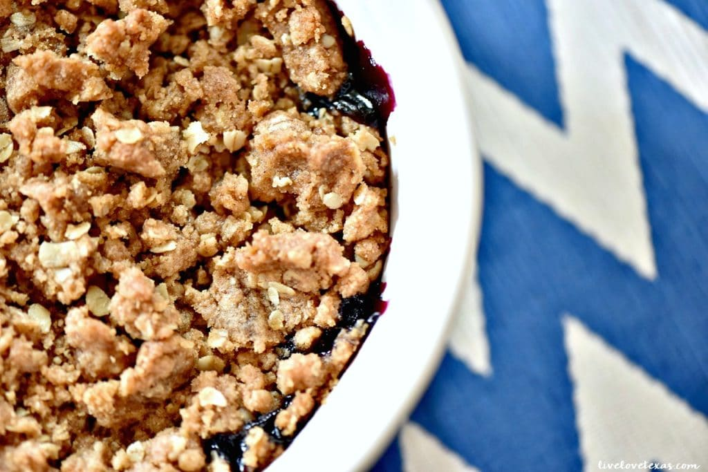This super easy Blueberry Crisp recipe has just six ingredients that you likely already have in your house and will streamline your entertaining!