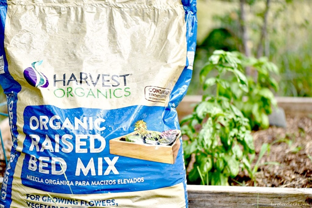 Harvest Organic Raised Bed Mix to grow tomatoes and basil for Easy Baked Caprese Stuffed Chicken Recipe.